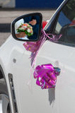 Wedding car decoration. With ribbons Stock Photography