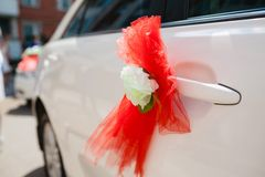 Wedding car decoration. white  flowers Royalty Free Stock Images