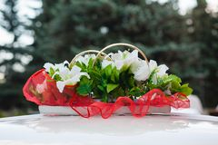 Wedding car decoration. white  flowers Royalty Free Stock Image