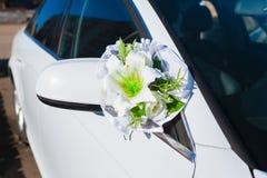 Wedding car decoration. white  flowers Royalty Free Stock Images