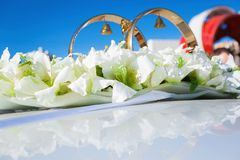Wedding car decoration. white  flowers Royalty Free Stock Photos