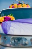 Wedding car decoration. yellow flowers Stock Images
