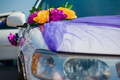 Wedding car decoration. yellow flowers Royalty Free Stock Photo
