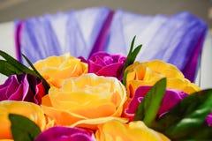 Wedding car decoration. yellow flowers Stock Photography