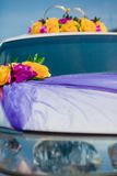 Wedding car decoration. yellow flowers Stock Photo
