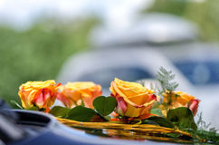 Wedding car decoration. Royalty Free Stock Images