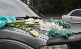 Wedding car decorations Royalty Free Stock Image