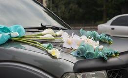 Wedding car decorations Royalty Free Stock Image