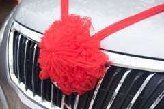Car decorations with red bow Stock Image