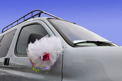 Wedding car with flower decoration Stock Image
