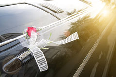 Wedding car with flower and  ribbon Stock Image