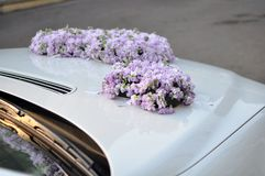 Wedding Car Flowers Royalty Free Stock Image