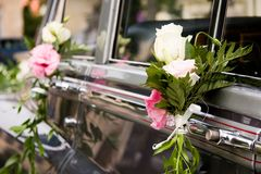 Wedding car flowers decorated Stock Images