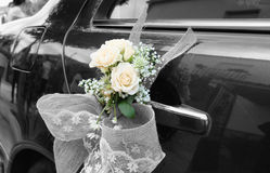 Wedding car with flowers Stock Image