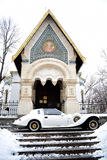 Wedding car in front of orthodox church Royalty Free Stock Photography