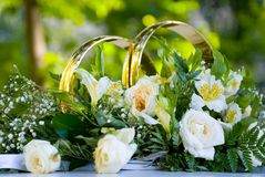 Wedding flower arrangement with white roses  Royalty Free Stock Image