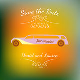Wedding car over abstract colorful blurred vector background. Royalty Free Stock Photo
