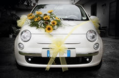 Wedding car that's amore. A wedding car adorned with flower. Italian style Stock Photography