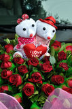 Wedding car with teddy bears Stock Photography