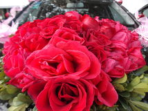 Wedding car, tied a red rose Stock Photo