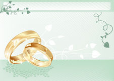 Wedding card. With gold rings, vector illustration Royalty Free Stock Image