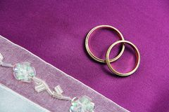 Wedding Card. Invitation or Greeting Wedding Card - Rings on Fabric Stock Images