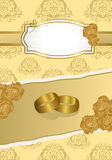 Wedding card. Vintage wedding card decorated with golden roses Royalty Free Stock Photo