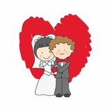 Wedding Card. Just married hugging Stock Image