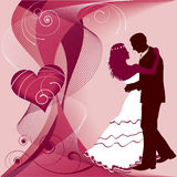 Wedding card. Couple dance and red heart. Wedding card Royalty Free Stock Images