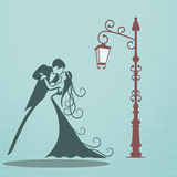 Wedding card. On light blue background Stock Photography