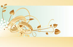 Wedding card. Gold wedding rings card design, vector illustration Royalty Free Stock Photos