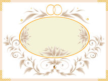 Wedding card. With flowers, rings and curls royalty free illustration