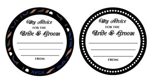 Wedding card. Advice for the bride and groom wedding card. Circle card is used to print and write wishes for young couple Royalty Free Stock Photos