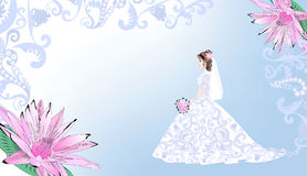 Wedding card with bride on a blue background Royalty Free Stock Photography