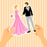 Wedding card with bride and groom Stock Images