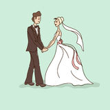 Wedding card with bride and groom Royalty Free Stock Image