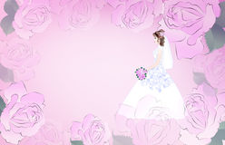 Wedding card with bride on a pink background Royalty Free Stock Photos