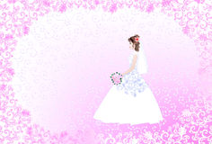 Wedding card with bride on pink  openwork backgrou Royalty Free Stock Photo