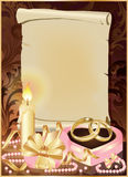 Wedding card with candle and golden rings. Royalty Free Stock Photo