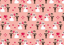Wedding card with cartoon groom and bride pattern Royalty Free Stock Images