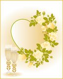 Wedding card with champagne,  Royalty Free Stock Images