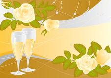 Wedding card with champagne,  Stock Photography