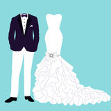 Wedding card with the clothes. Wedding card with the clothes of the bride and groom. Beautiful wedding dress and tuxedo. Vector illustration Stock Photo