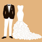 Wedding card with the clothes. Wedding card with the clothes of the bride and groom. Beautiful wedding dress and tuxedo. Vector illustration Stock Images