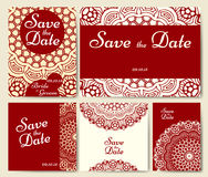 Wedding card collection with mandala. Template of invitation card. Decorative greeting invitaion design with vintage Islam, arabic Stock Image