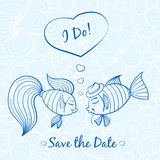 Wedding card with cute fishes. Vector romantic wedding invitation with cute fishes Royalty Free Stock Image