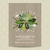 Wedding card with cute green floral background. Wedding card with cute green floral leaf on wood background Stock Photography