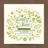 Wedding card with cute green floral background Royalty Free Stock Photography