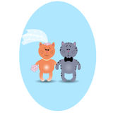 Wedding card with cute kittens in love. Vector illustration. Gre Stock Image