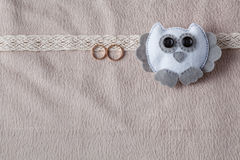 Wedding card decorationwith with owl. Soft cozy background and copy space Stock Photography